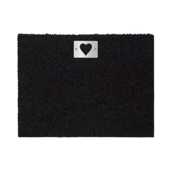 heart Fußmatte 57 x 42 cm, mit Edelstahl-Schild Herz, schwarz