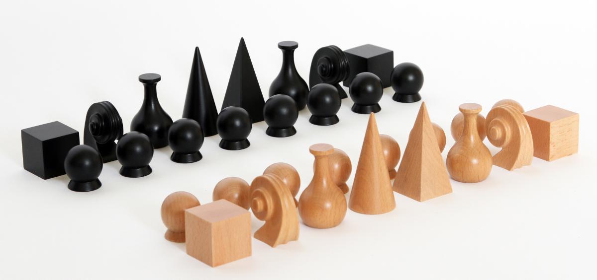 Man Ray Schachfigurenset massives Buchenholz, 16 Figuren
