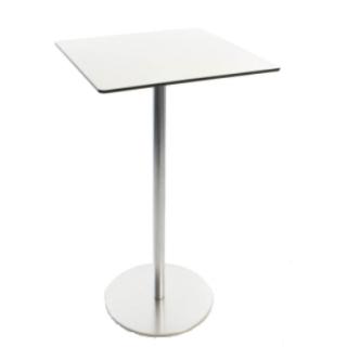 BRIO Stehtisch, FIX 110 cm, Platte quadratisch 60x60 cm HPL weiß, Kante dunkel