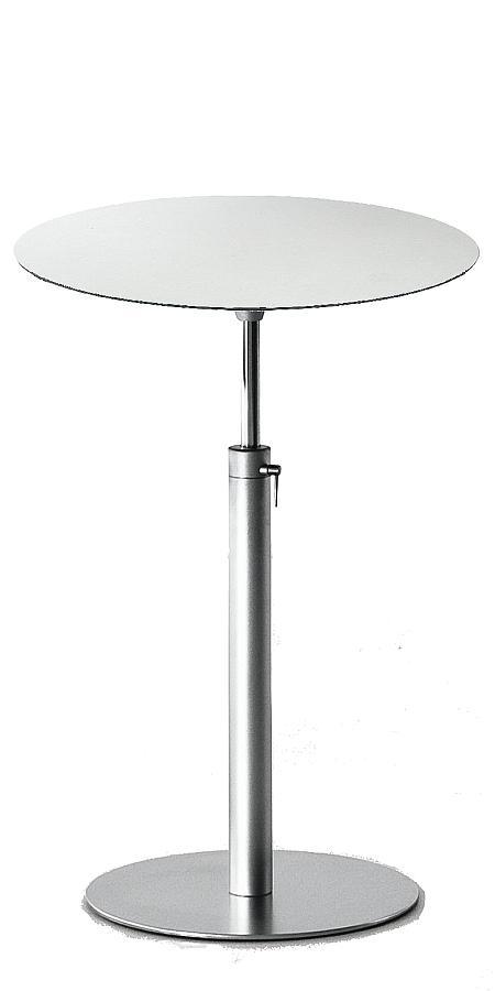 BRIO Bistrotisch / Stehtisch, verstellbar 73-100 cm, Platte rund 60 cm HPL weiß, Kante dunkel