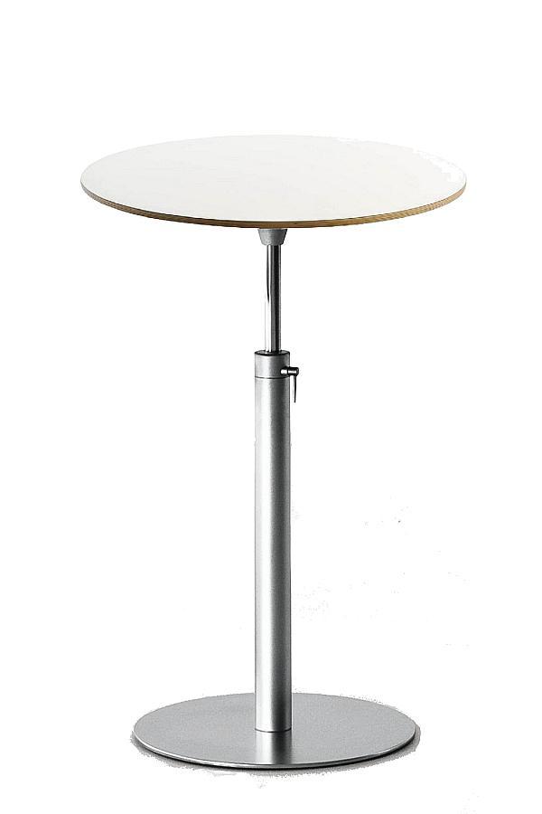 BRIO Bistrotisch / Stehtisch, verstellbar 73-100 cm, Platte rund 60 cm Laminat weiß, Holzkante