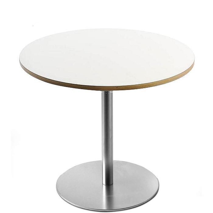 BRIO Bistrotisch / Esstisch, FIX 72 cm, Platte rund 60 cm Laminat weiß, Holzkante