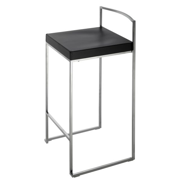 Cubo Barhocker Sitzhöhe 75 cm, Leder schwarz