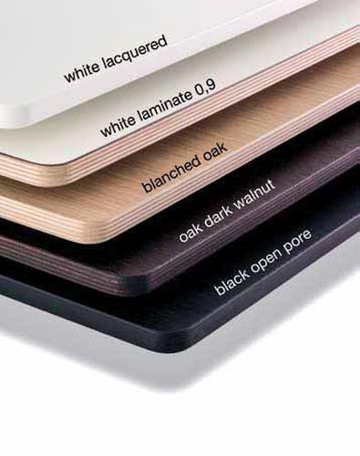 Tischplatten für BRIO und SELTZ, weiß lackiert, Laminat weiß mit Holzkante, Eiche gebleicht, Eiche nussbaumfarbig gebeizt und Eiche schwarz offenporig