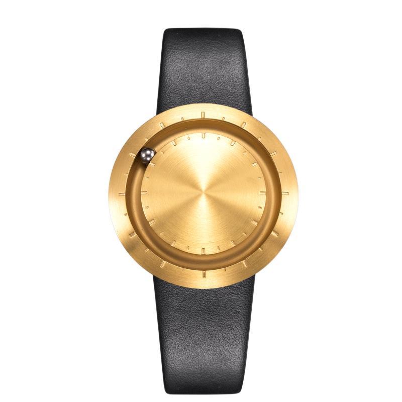 ABACUS Armbanduhr 40 mm, Leder-Armband schwarz, gold poliert