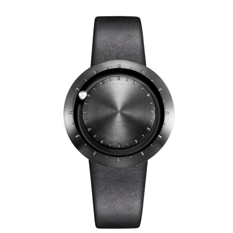 ABACUS Armbanduhr 40 mm, Leder-Armband schwarz, schwarz matt