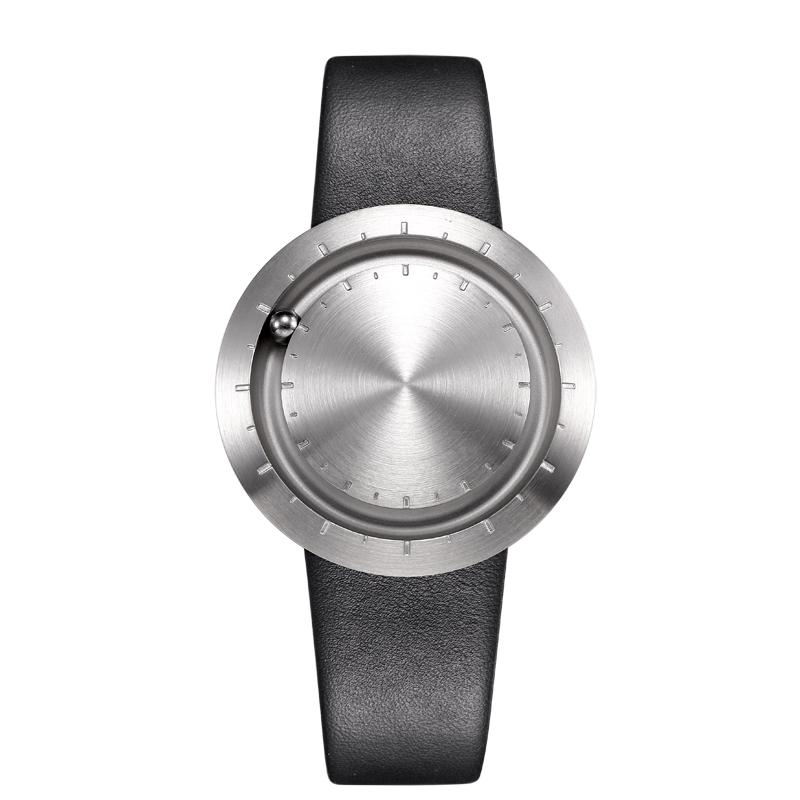 ABACUS Armbanduhr 40 mm, Leder-Armband schwarz, silber matt