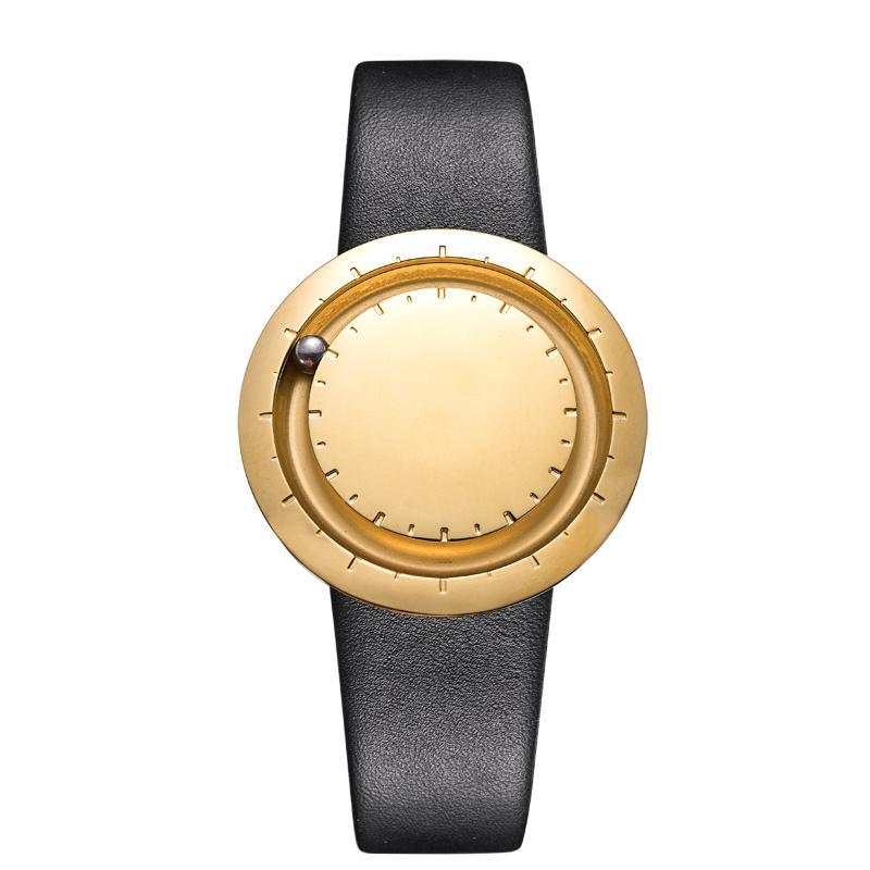 ABACUS Armbanduhr 40 mm, Leder-Armband schwarz, gold matt