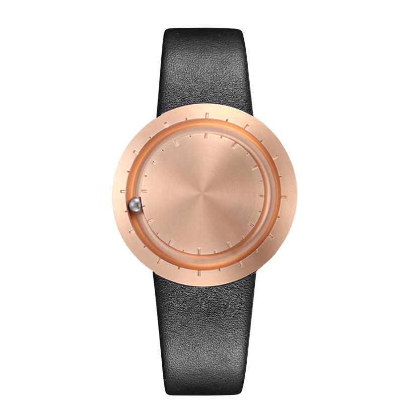 ABACUS Armbanduhr 40 mm, Leder-Armband schwarz, rosé matt