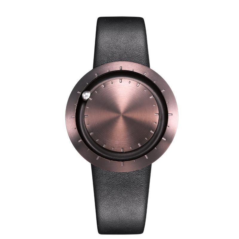 ABACUS Armbanduhr 40 mm, Leder-Armband schwarz, braun matt