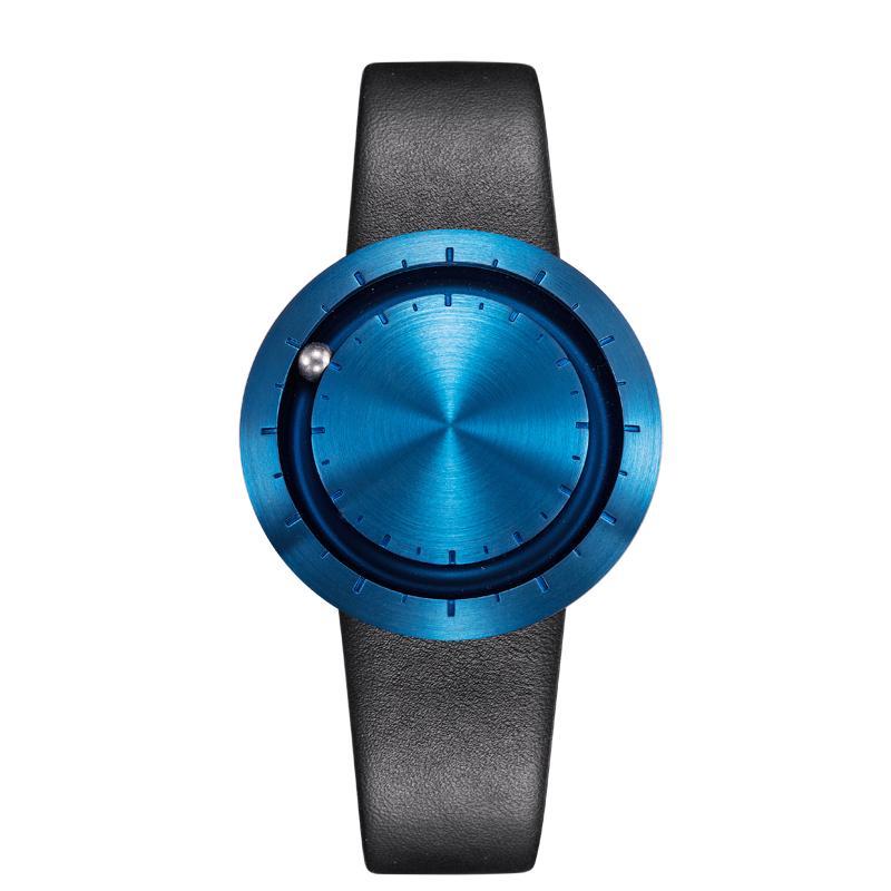ABACUS Armbanduhr 40 mm, Leder-Armband schwarz, blau matt