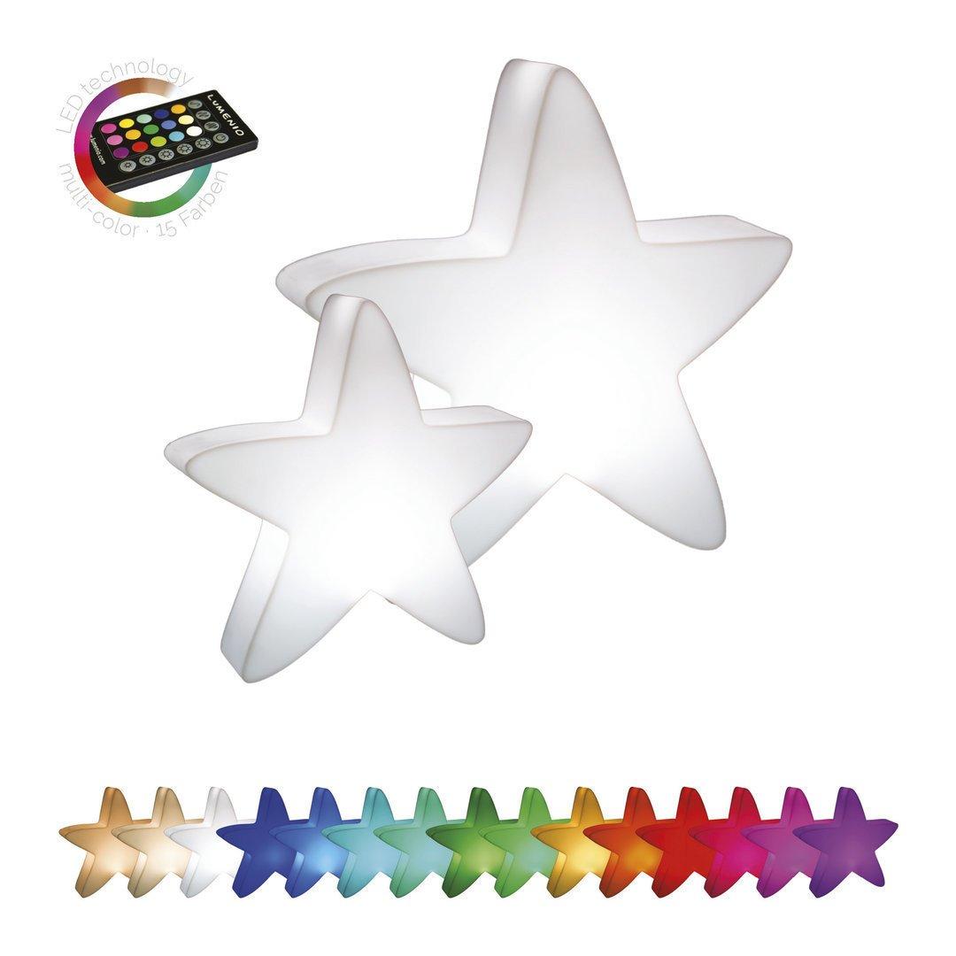 LUMENIO LED beleuchteter Stern in vielen Farben, mit IR-Fernbedienung
