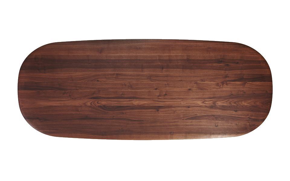 MOUNT Tisch oval, Platte Nussbaum, von oben gesehen