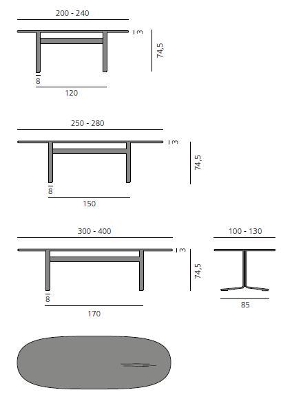 MOUNT Tisch, verschiedene Größen, Details