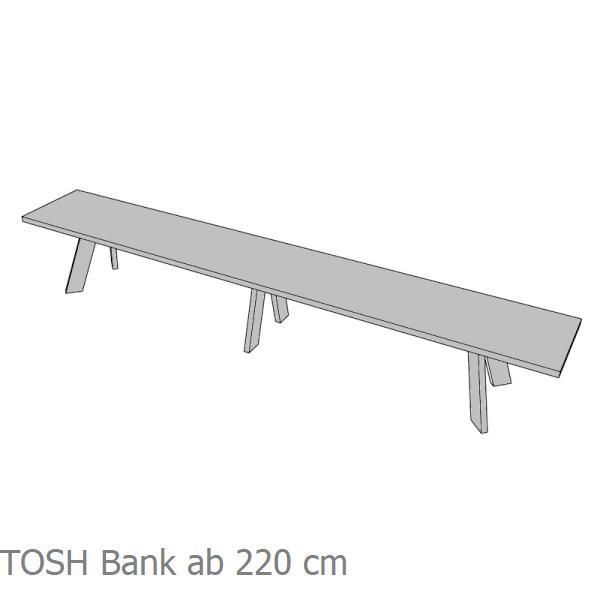 TOSH Bank mit einem 3. Fuß in der Mitte ab 220 cm Breite