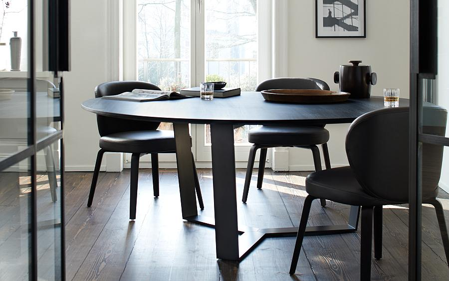 PERO Esstisch rund, Platte Eiche schwarz matt lackiert