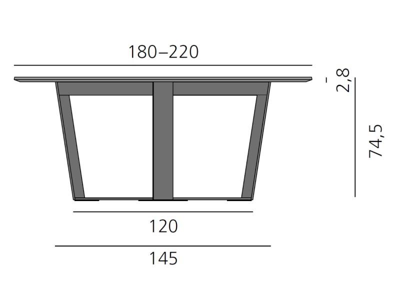PERO Tisch rund, Platte 180 - 220 cm