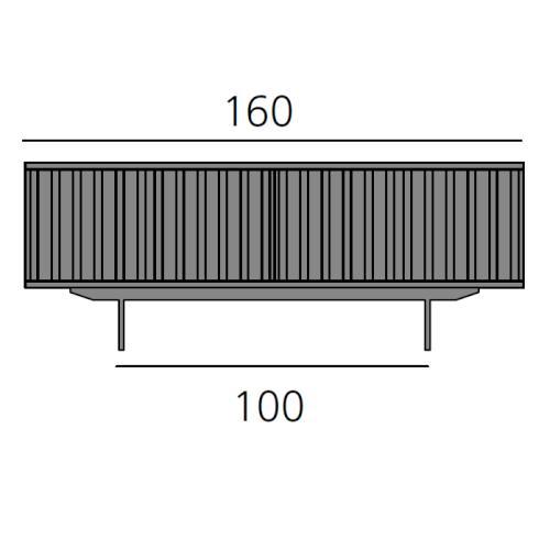 HARRI Sideboard 160 cm mit 6 Türen, 3x Türanschlag links, 3x Türanschlag rechts