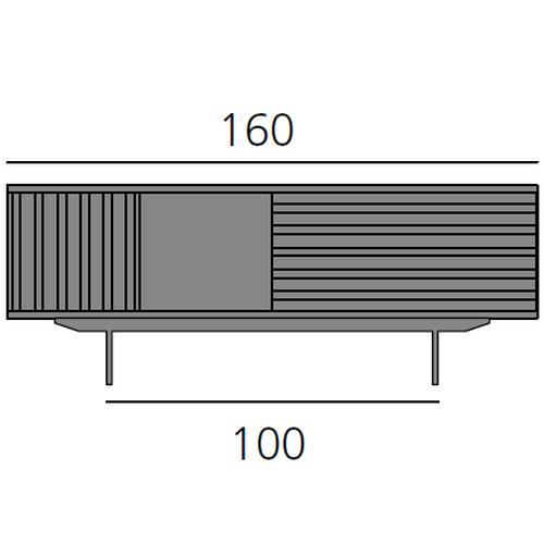 HARRI Sideboard 160 cm mit 1 Tür (links), 1 offenes Fach 40 cm, 1 Schublade