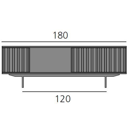 HARRI Sideboard 180 cm mit 1x Tür links, 1 offenes Fach, 2x Tür rechts