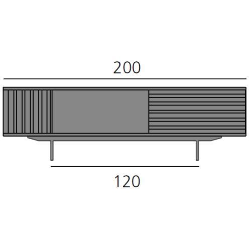 HARRI Sideboard 200 cm mit 1x Tür links, 1 offenes Fach und 1x Schublade