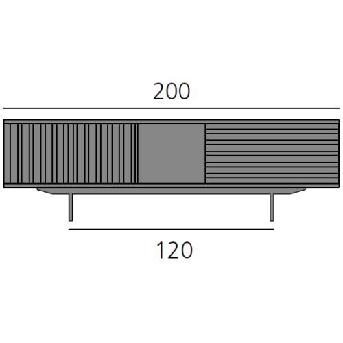 HARRI Sideboard 200 cm mit 2x Tür links, 1 offenes Fach, 1x Schublade