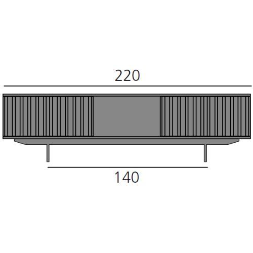 HARRI Sideboard 220 cm mit 2x Tür links, 1x offenes Fach, 2x Tür rechts