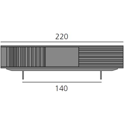 HARRI Sideboard 220 cm mit 1x Mini-Fach, 2x Tür links, 1 großes Fach und 1x Schublade