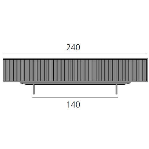 HARRI Sideboard 240 cm mit 2 Türen linksbündig und 3 Türen rechtsbündig