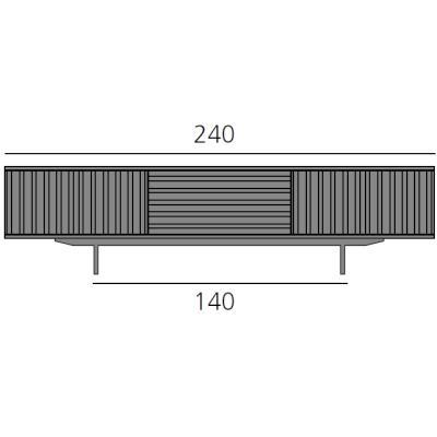 HARRI Sideboard 240 cm mit 2 Türen links, 1 Schublade und 2 Türen rechts
