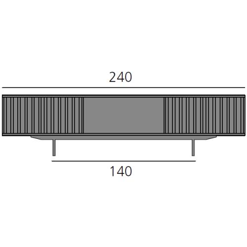HARRI Sideboard 240 cm mit 2 Türen links, 1 großes Fach und 2 Türen rechts