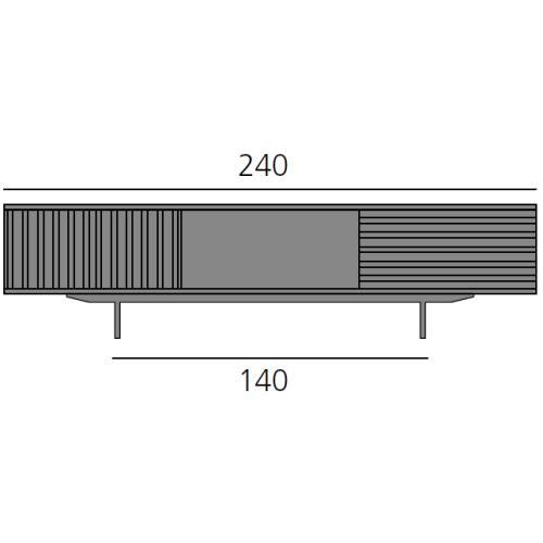 HARRI Sideboard 240 cm mit 2 Türen links, 1 großes Fach und 1 Schublade 80 cm