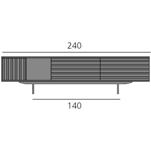 HARRI Sideboard 240 cm mit 1x Tür links, 1x Fach 40 cm, 2x Schublade je 80 cm