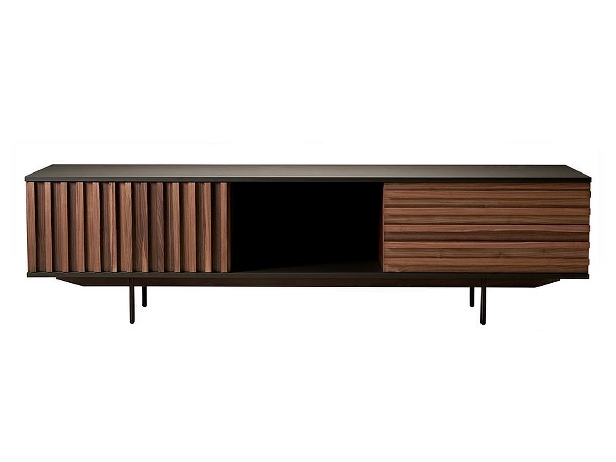 HARRI Sideboard 220 cm, Korpus anthrazitlackiert, Fronten Nussbaum, 2 Türen und 1 Schublade