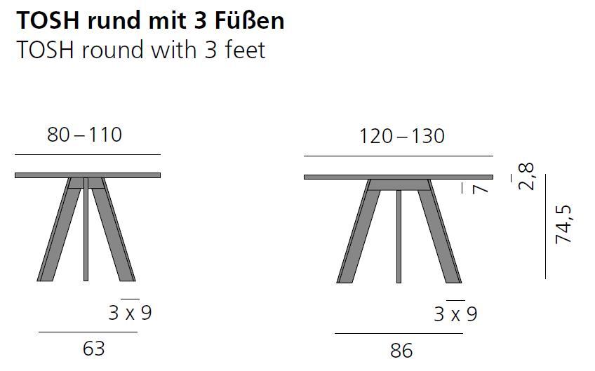 TOSH Tisch rund, Vermassung bis 130 cm