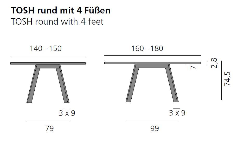 TOSH Tisch rund, Vermassung bis 180 cm