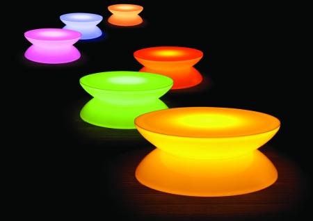 Lounge Leuchttisch LED PRO Accu Multicolor im Freien