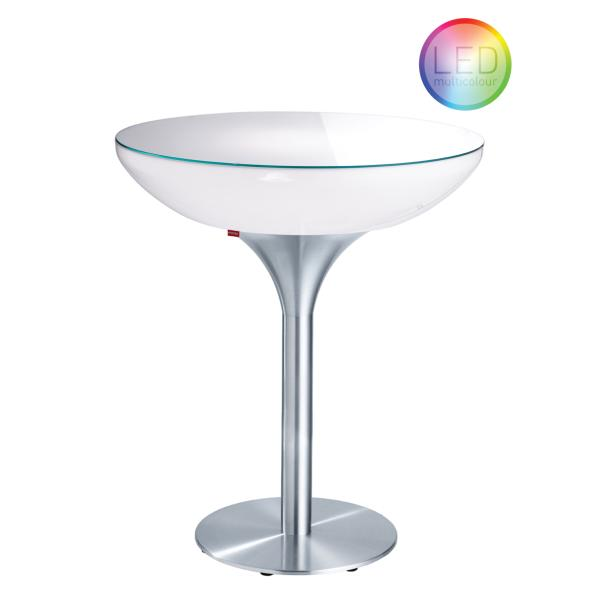 LOUNGE Leuchtisch Stehtisch 105 cm, inkl. Glasplatte LED Pro Accu