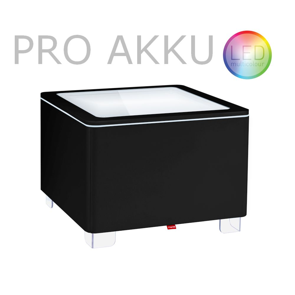 ORA Tisch mit Akku LED PRO Beleuchtung MDF schwarz