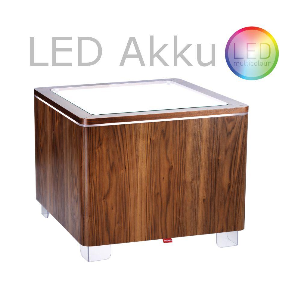 ORA Tisch mit Akku LED Beleuchtung Walnuss furniert