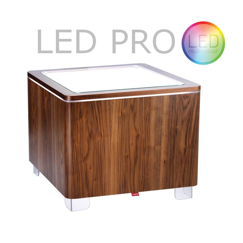 ORA Tisch mit Akku LED PRO Beleuchtung Walnuss furniert