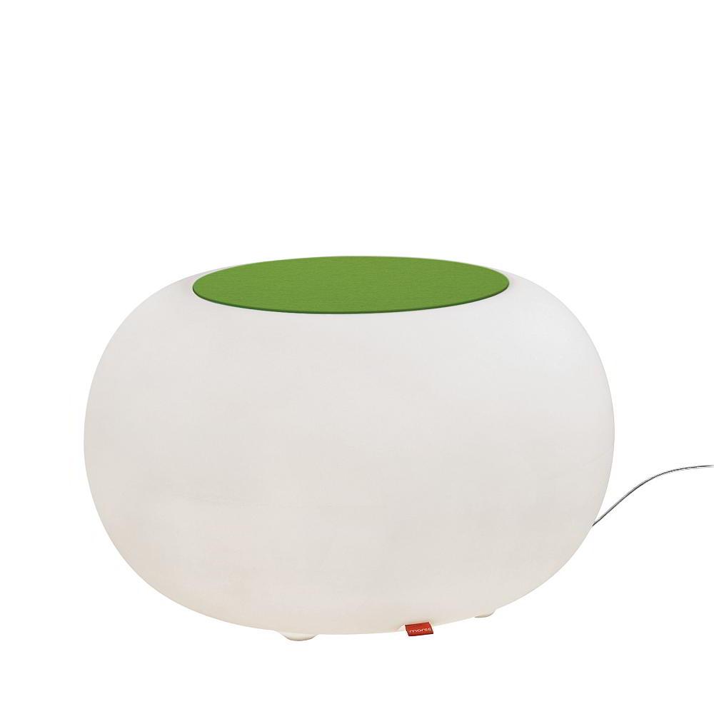 BUBBLE Leuchthocker Outdoor mit ESL-Beleuchtung, Filzauflage grün