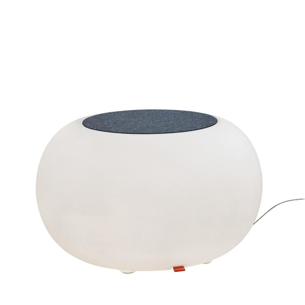 BUBBLE Leuchthocker Outdoor mit ESL-Beleuchtung, Filzauflage grau