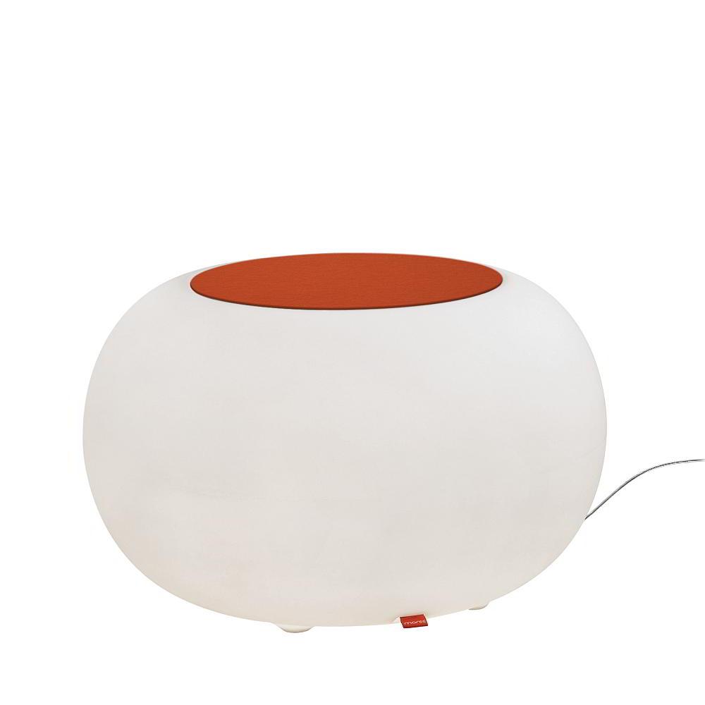 BUBBLE Leuchthocker Outdoor mit ESL-Beleuchtung, Filzauflage orange