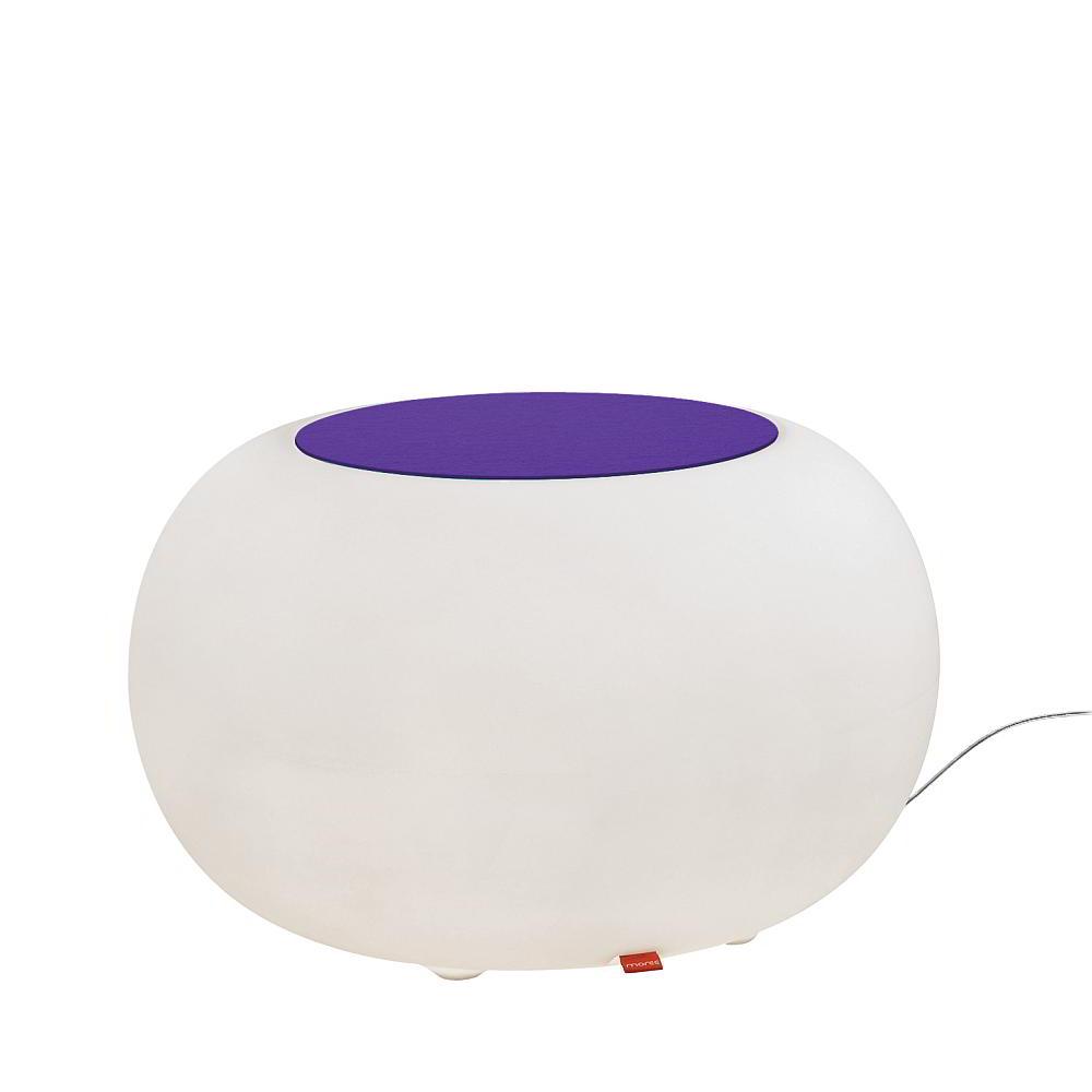BUBBLE Leuchthocker Outdoor mit ESL-Beleuchtung, Filzauflage violett