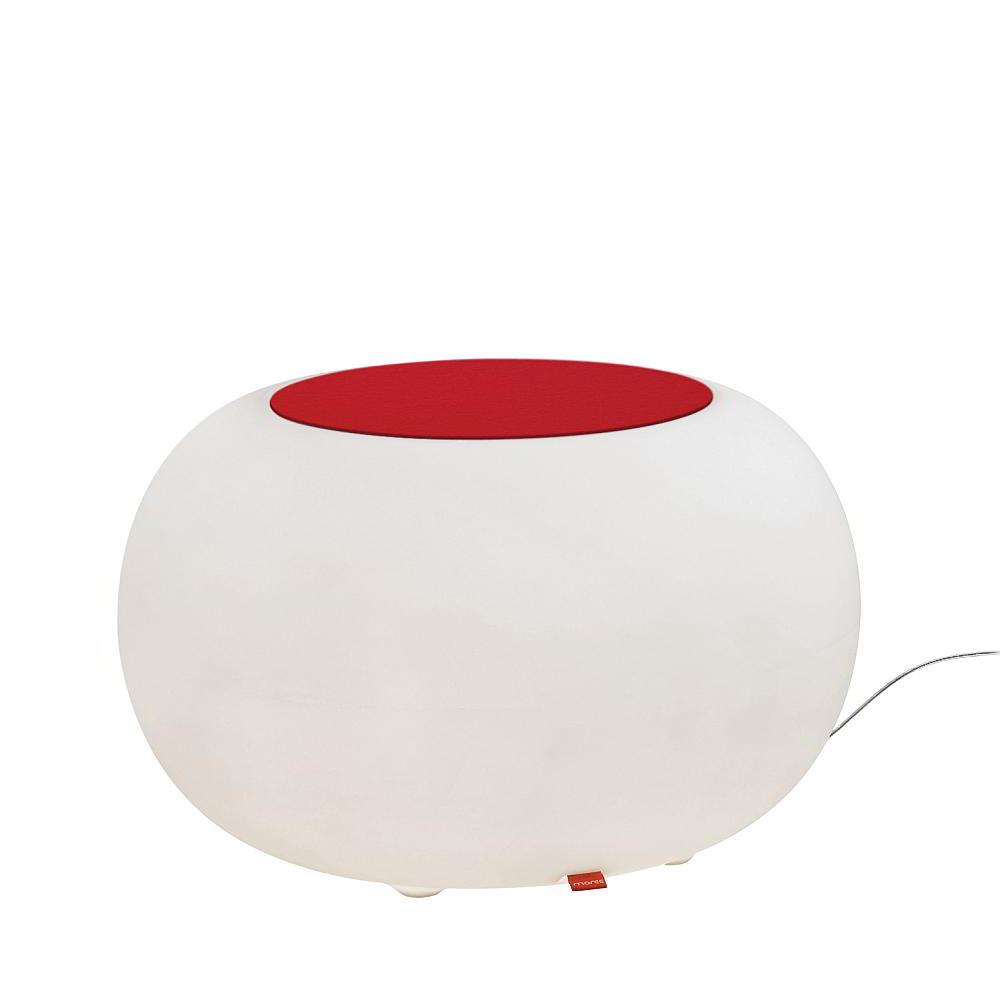 BUBBLE Leuchthocker Outdoor mit ESL-Beleuchtung, Filzauflage rot