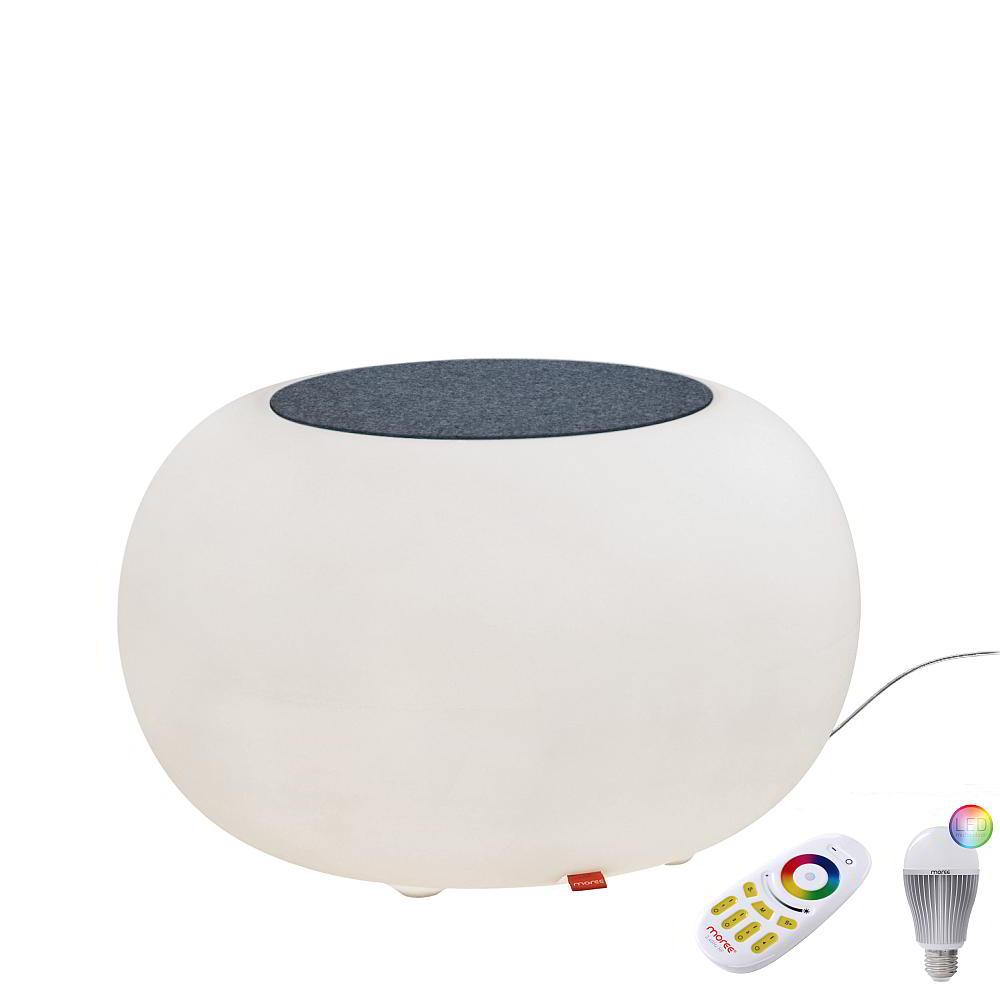 BUBBLE Leuchthocker Indoor mit Funk-LED, Filzauflage grau