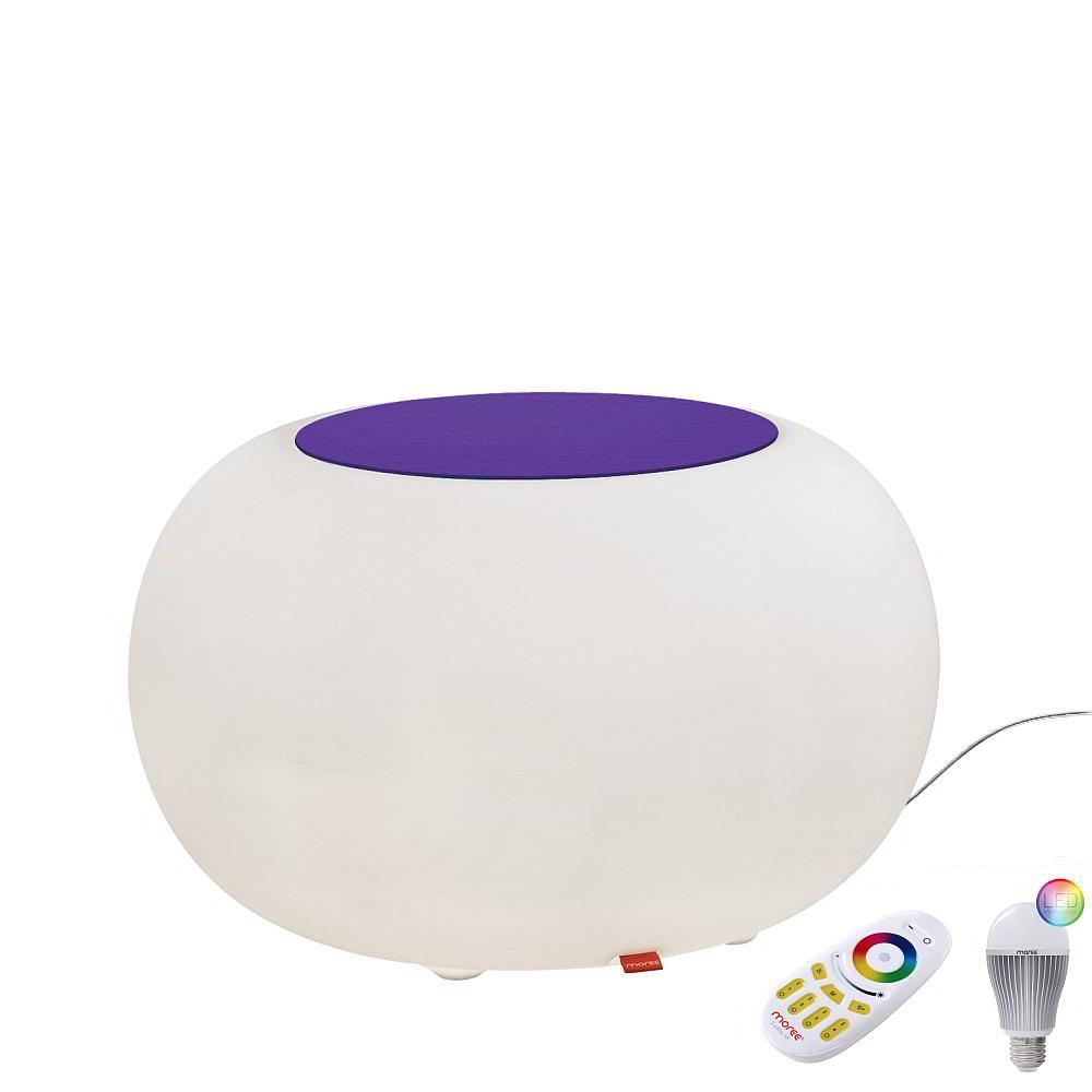 BUBBLE Leuchthocker Indoor mit Funk-LED, Filzauflage violett