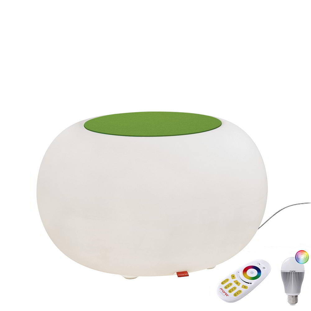 BUBBLE Leuchthocker Outdoor mit LED-Beleuchtung, Filzauflage grün