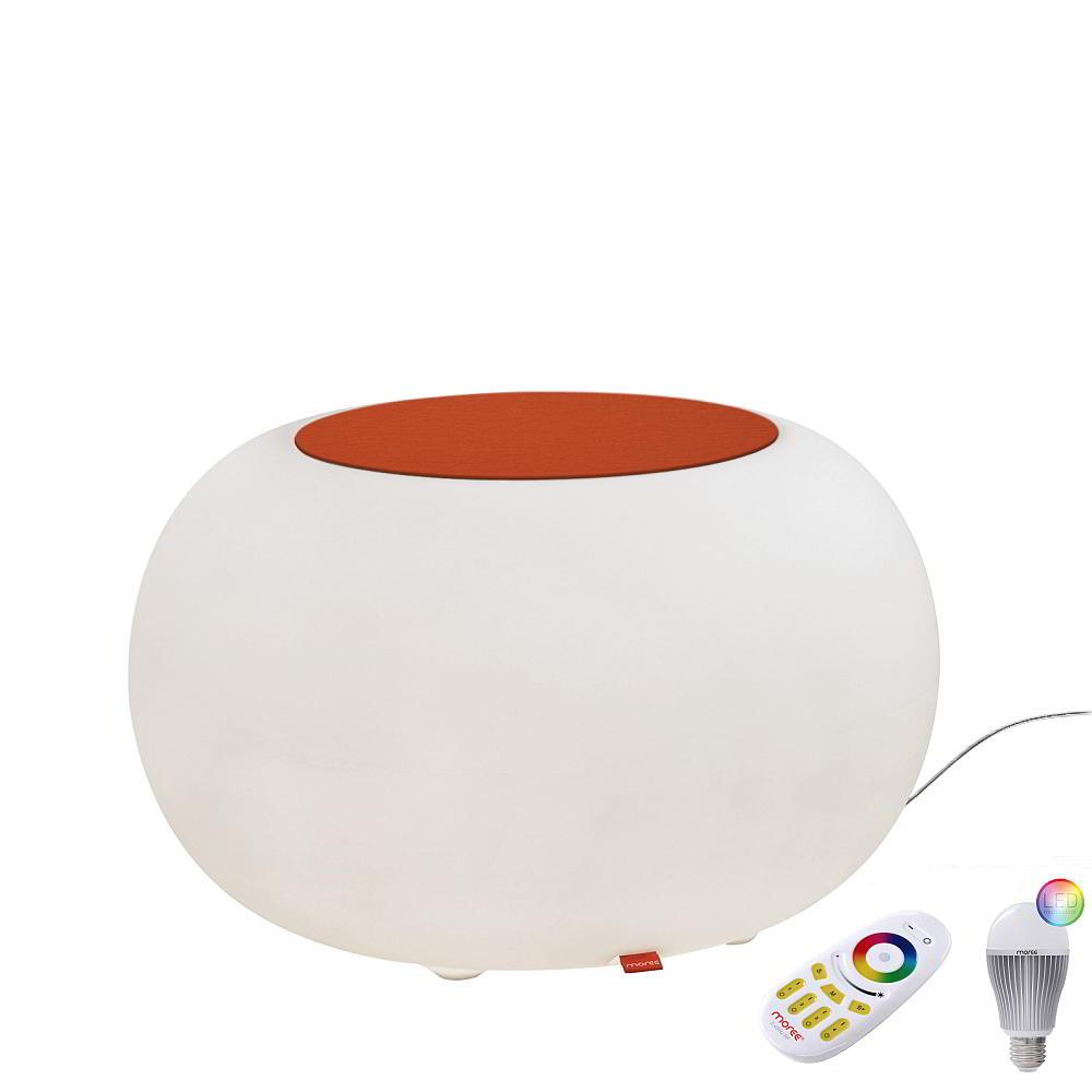 BUBBLE Leuchthocker Outdoor mit LED-Beleuchtung, Filzauflage orange